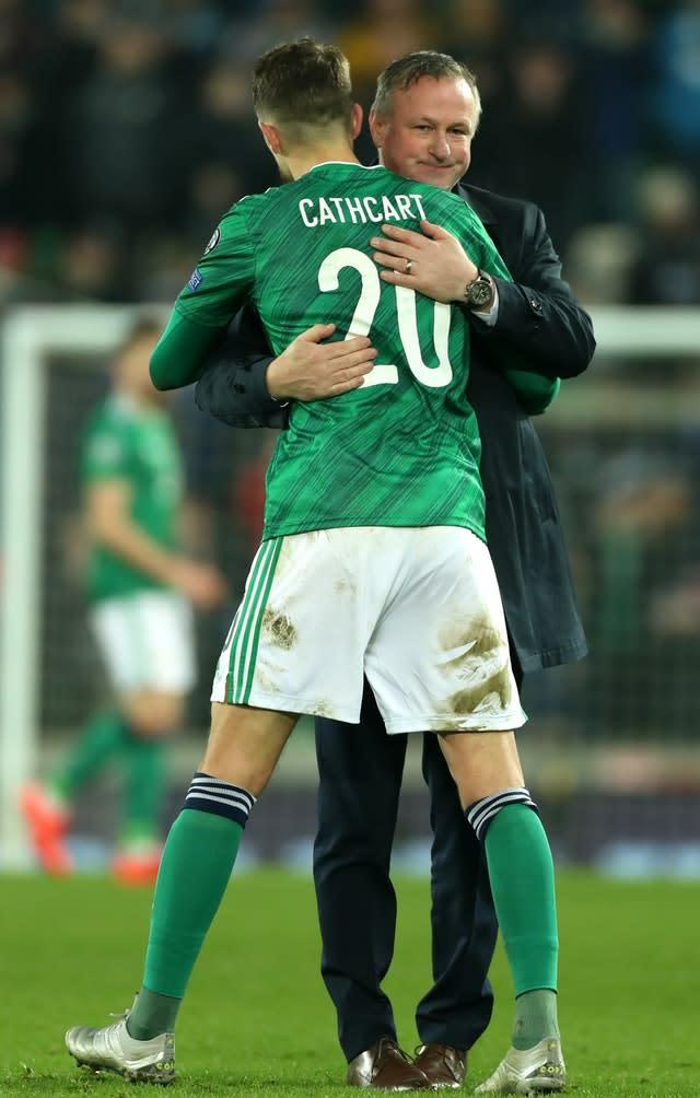 Craig Cathcart stands to earn his 50th cap on Tuesday night (Liam McBurney/PA)