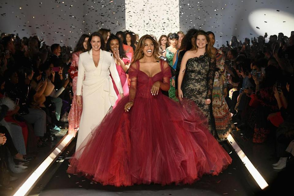 <p>Laverne Cox, Candice Huffine and models walk the runway finale for the first 11 Honoré fashion show during New York Fashion Week: The Shows at Gallery I at Spring Studios on February 6, 2019, in New York City. (Photo: Getty Images) </p>
