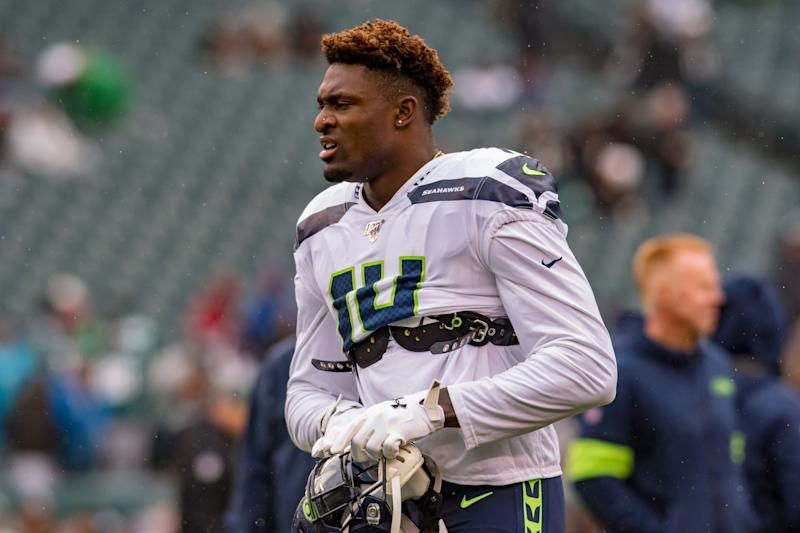 PHILADELPHIA, PA - NOVEMBER 24: Seattle Seahawks wide receiver D.K. Metcalf (14) is pictured prior to the National Football League game between the Seattle Seahawks and Philadelphia Eagles on November 24, 2019 at Lincoln Financial Field in Philadelphia, PA (Photo by John Jones/Icon Sportswire via Getty Images)