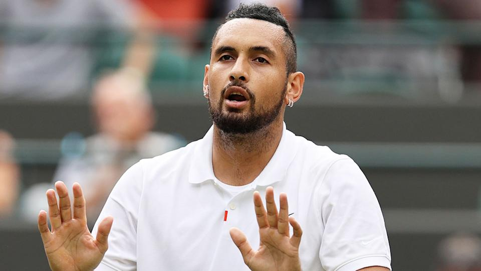 Nick Kyrgios is pictured here during one of his matches at Wimbledon.