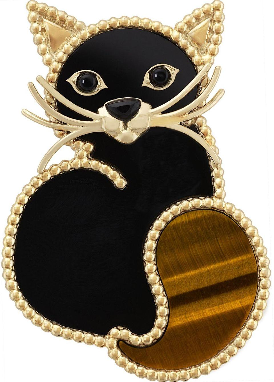"""<p><a class=""""link rapid-noclick-resp"""" href=""""https://www.vancleefarpels.com/gb/en/collections/jewelry/fauna/lucky-animals/vcarp2aw00-lucky-animals-cat-clip.html"""" rel=""""nofollow noopener"""" target=""""_blank"""" data-ylk=""""slk:SHOP NOW"""">SHOP NOW</a></p><p>This purrrrfect little pin by Van Cleef & Arpels will bring feline fabulousness to any outfit. </p><p>Gold, onyx and tiger's eye clip, £4,950, Van Cleef & Arpels</p>"""