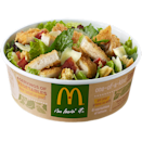 """<p>Lettuce and baby kale topped with crispy bacon, real parmesan and roasted focaccia croutons. Chicken options include seasoned crispy chicken or grilled chicken breast. But at <strong>31 grams of fat (10 grams saturated)</strong> and <strong>1,140 mg of sodium</strong>, it contains more fat and salt than a <strong>Big Mac </strong>(28 g fat/950 mg sodium), a <strong>Bacon McDouble sandwich</strong> (21 g fat/1,030 mg sodium); a <strong>double cheeseburger</strong> (20 g fat/1,050 mg sodium), or a <strong>Quarter Pounder with Cheese</strong> (26 g fat/1,080 mg of sodium). This salad packs more vitamin A and vitamin C than a Big Mac, but less iron. <strong>Serving size: 263 g</strong><br> — Calories: 520<br> — Fat: 31 g (Saturated Fat 10 g)<br> — Carbohydrates: 28 g<br> — Sodium: 1,140 mg<br> — Sugar: 2 g<br> — Protein: 27 g<br> — Source/Photo: <a href=""""http://www.mcdonalds.ca/ca/en/food/nutrition_centre.html#/"""" rel=""""nofollow noopener"""" target=""""_blank"""" data-ylk=""""slk:McDonald's Canada"""" class=""""link rapid-noclick-resp"""">McDonald's Canada<br></a><br><strong>TRY THIS INSTEAD:</strong> McDonald's side Caesar salad (Fat: 8 g/Sat. Fat 3 g/Sodium: 400 mg) </p>"""