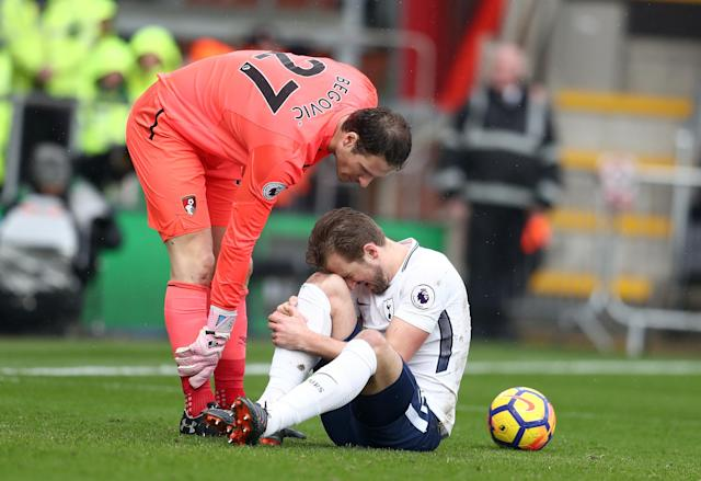 Harry Kane injured his ankle in the first half of Tottenham's game at Bournemouth. (Getty)
