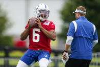 Indianapolis Colts quarterback Jalen Morton throws during practice at the NFL team's football training camp in Westfield, Ind., Saturday, July 31, 2021. (AP Photo/Michael Conroy)