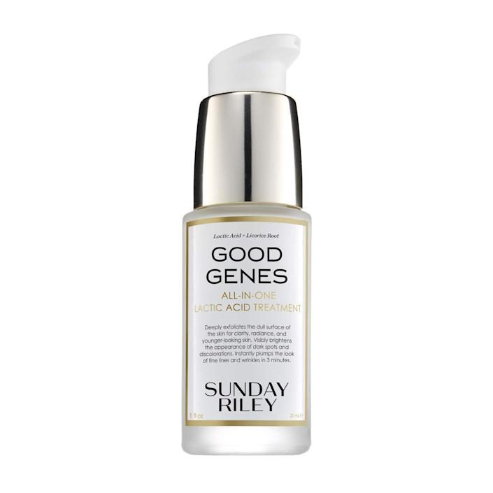 """<h3>Sunday Riley Good Genes All-in-One Lactic Acid Treatment</h3><br><strong>Stephanie<br></strong><br>""""Nothing makes my skin look brighter, more even, or less acne-prone than this product. I have tried cheaper versions and 'dupes' and literally nothing compares. It's like a tiny mini facial whenever I do at night and I wake up looking so bright! I get so many compliments on my skin when I use it."""" <br><br><strong>Sunday Riley</strong> Good Genes All-in-One Lactic Acid Treatment, $, available at <a href=""""https://amzn.to/32CbqSC"""" rel=""""nofollow noopener"""" target=""""_blank"""" data-ylk=""""slk:Amazon"""" class=""""link rapid-noclick-resp"""">Amazon</a>"""