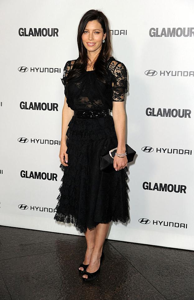 "Another lovely lady being feted at <i>Glamour</i>'s event was Jessica Biel, who donned a delicate black ruffled Oscar de la Renta Resort 2010 gown, paired with peep-toes and a Ferragamo clutch. Frazer Harrison/<a href=""http://www.gettyimages.com/"" target=""new"">GettyImages.com</a> - October 25, 2010"