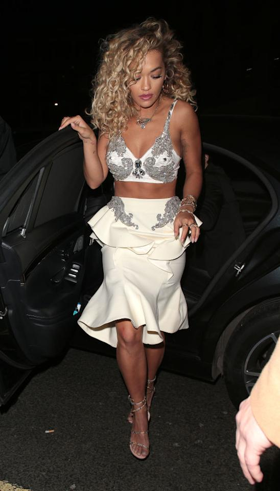 <p>The singer stepped out of her car in London wearing just a bra and skirt. (Photo: Mark R. Milan/Ricky Vigil M/GC Images) </p>