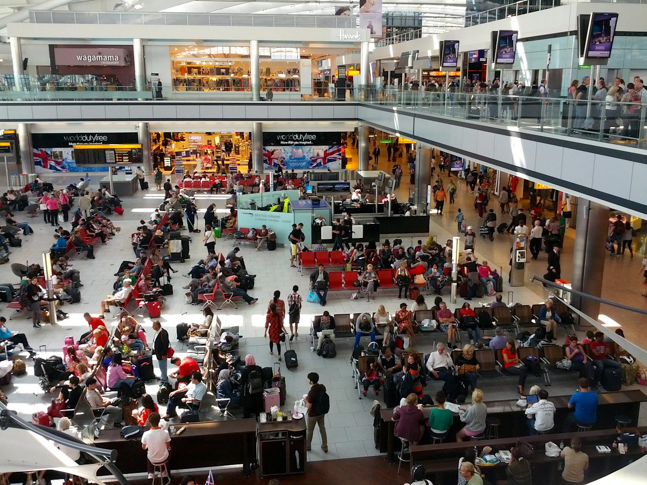 <p>No. 9: London Heathrow Airport<br /> Fourteen miles west of central London, Heathrow is the third busiest airport in the world by passenger traffic. It spans 1,227 hectares, has six terminals and two runways that serve 80 different airlines. Over 201,000 passengers fly through this airport every day.<br /> (Antonio Zugaldia/Creative Commons) </p>