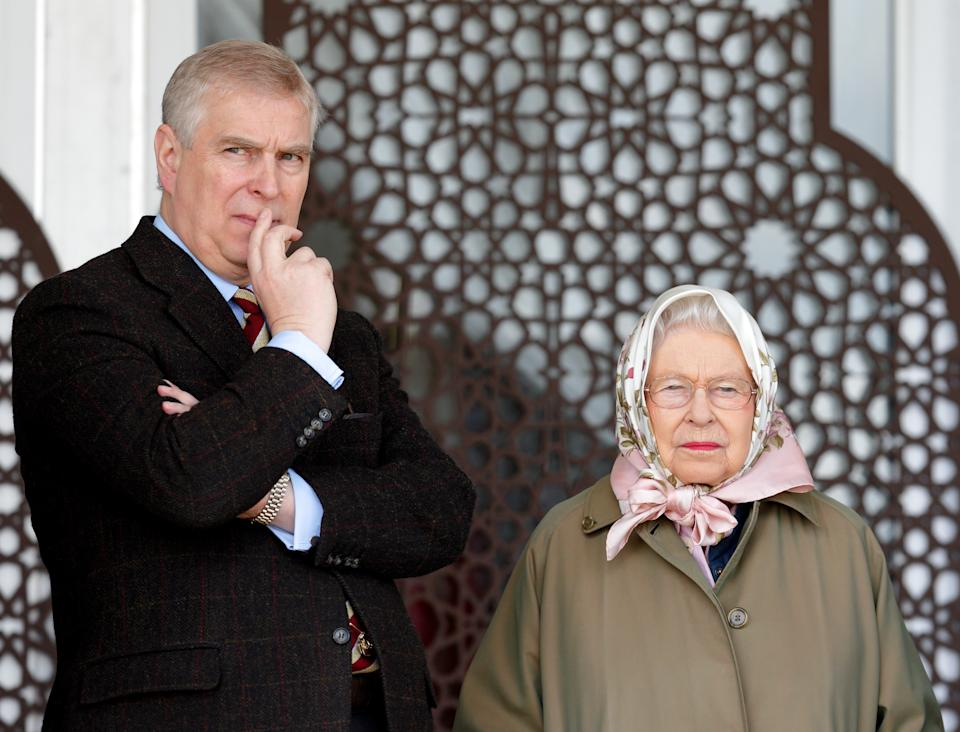 WINDSOR, UNITED KINGDOM - MAY 12: (EMBARGOED FOR PUBLICATION IN UK NEWSPAPERS UNTIL 48 HOURS AFTER CREATE DATE AND TIME) Prince Andrew, Duke of York and Queen Elizabeth II attend the Endurance event on day 3 of the Royal Windsor Horse Show in Windsor Great Park on May 12, 2017 in Windsor, England. (Photo by Max Mumby/Indigo/Getty Images)
