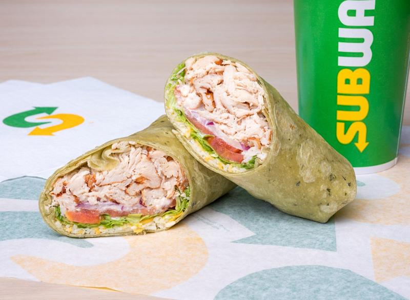 Subway Rotisserie-Style Chicken Caesar spinach wrap