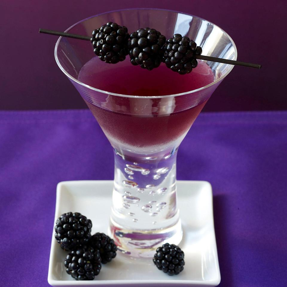 "Sweet, juicy blackberries make for one pretty purple drink. <a href=""https://www.epicurious.com/recipes/food/views/blackberry-poblano-margarita-358556?mbid=synd_yahoo_rss"" rel=""nofollow noopener"" target=""_blank"" data-ylk=""slk:See recipe."" class=""link rapid-noclick-resp"">See recipe.</a>"