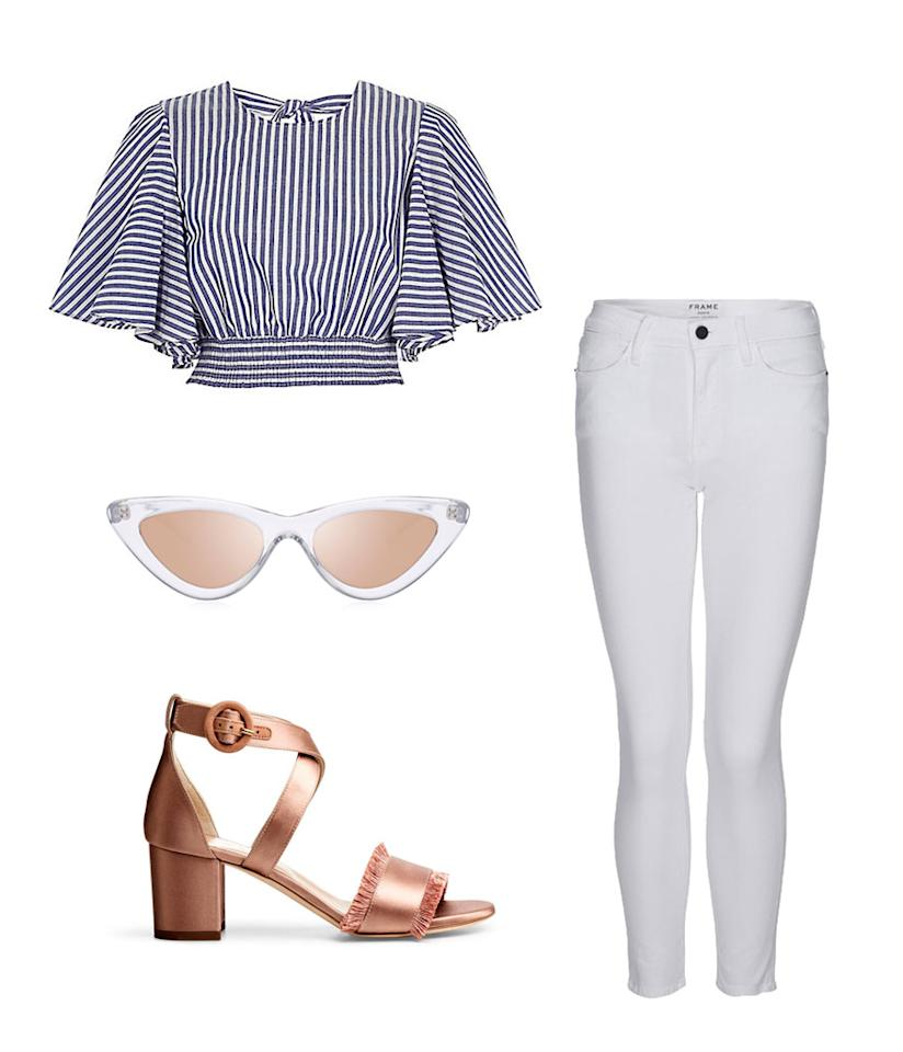 <p>Inspired by Kendall's French Riviera yachting style, this look is comfortable, breezy, and also very appropriate for the Memorial Day weekend. White is wearable again! </p>