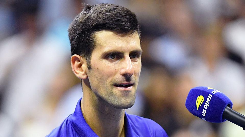 Pictured here, Novak Djokovic speaks after his first round win at the US Open.