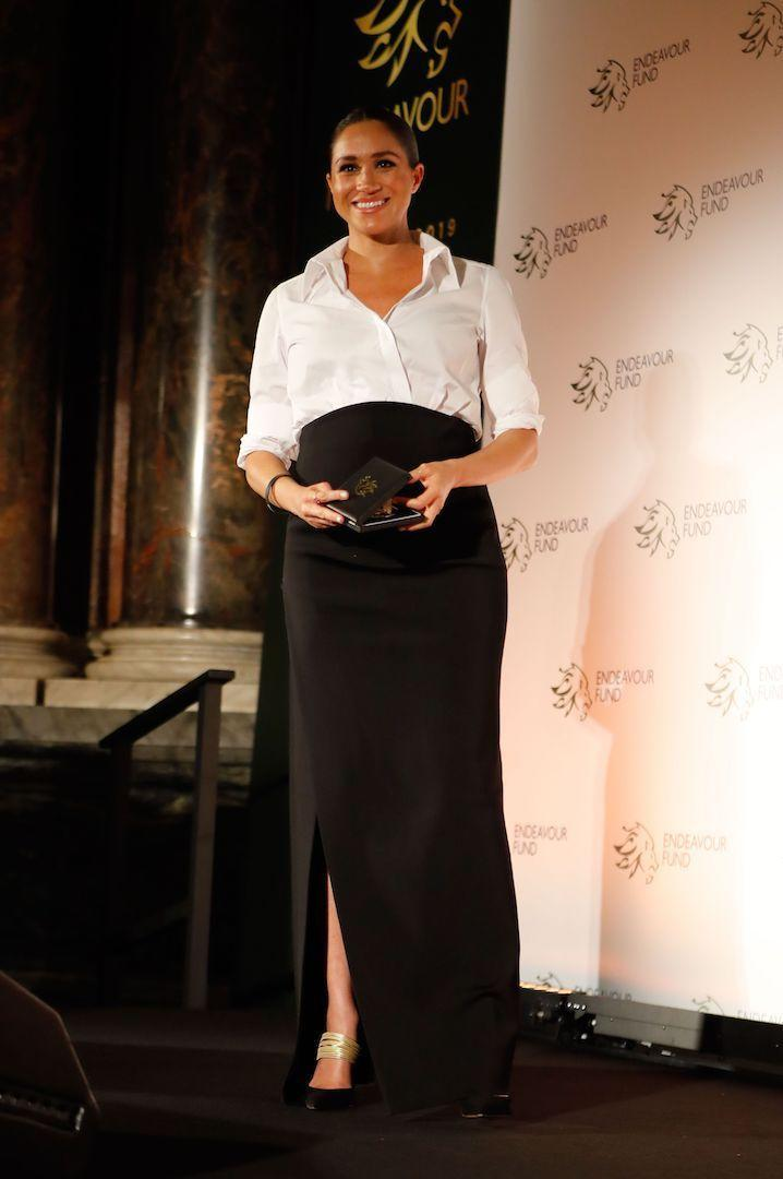 For the 2019 Endeavour Awards, Meghan chose a monochrome ensemble by Givenchy teamed with Aquazzura's £530 Rendez Vous mules. [Photo: Getty]