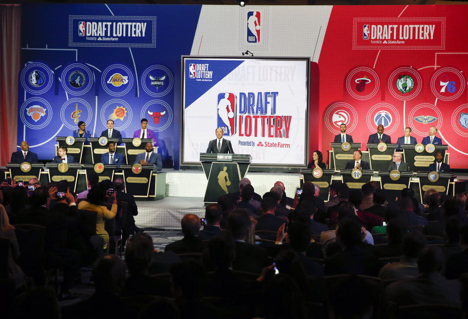 The draft lottery scheduled for May in Chicago has been postponed. (AP Photo/Nuccio DiNuzzo)