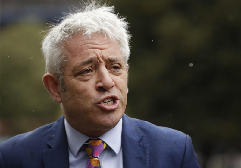 British politician John Bercow, Speaker of the House of Commons speaks outside the Houses of Parliament in London, Tuesday, Sept. 24, 2019 where he announced that parliament would resume on Wednesday morning. In a setback for British Prime Minister Boris Johnson, Britain's Supreme Court has ruled that the suspension of Parliament was illegal. The ruling Tuesday is a major blow to the prime minister who had suspended Parliament for five weeks, claiming it was a routine closure. (AP Photo/Matt Dunham)