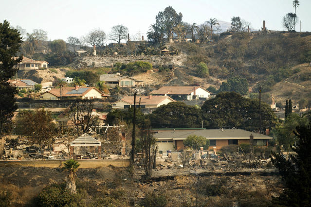 Homes scorched by a wildfire line a hillside in Ventura, Calif., on Wednesday, Dec. 6, 2017. (AP Photo/Noah Berger)