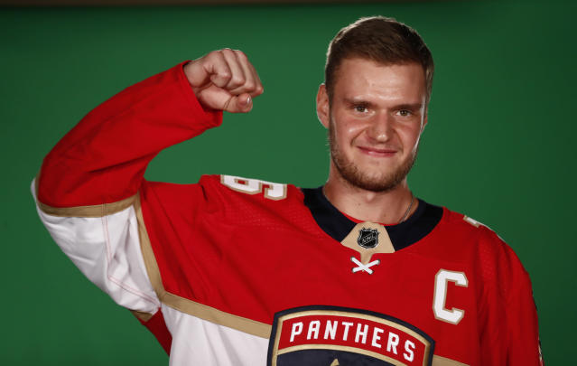 Florida Panthers center Aleksander Barkov (16) poses during NHL hockey media day on Thursday, Sept. 12, 2019, in Sunrise, Fla. (AP Photo/Brynn Anderson)