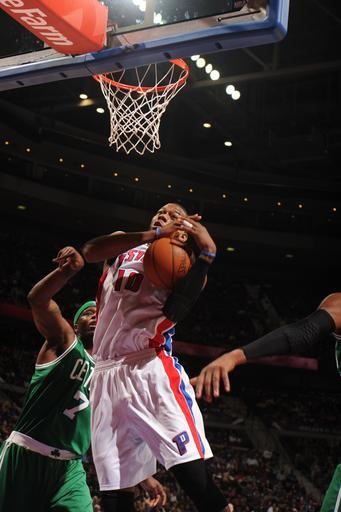 AUBURN HILLS, MI - FEBRUARY 19: Greg Monroe #10 of the Detroit Pistons goes to the basket during the game between the Detroit Pistons and the Boston Celtics on February 19, 2012 at The Palace of Auburn Hills in Auburn Hills, Michigan. (Photo by Dan Lippitt/NBAE via Getty Images)