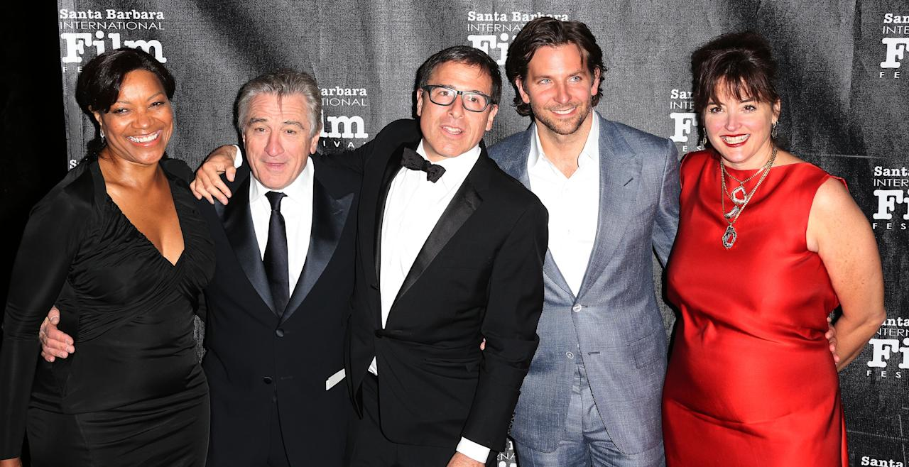 GOLETA, CA - DECEMBER 08: (L-R) Grace Hightower, actor Robert De Niro, director David O. Russell, actor Bradley Cooper and a guest attend the SBIFF's 2012 Kirk Douglas Award for Excellence In Film during the Santa Monica Film Festival on December 8, 2012 in Goleta, California.  (Photo by Frederick M. Brown/Getty Images)