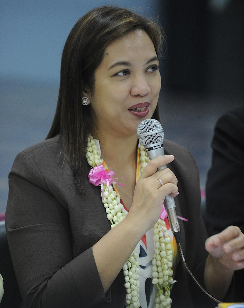 Health Secretary Janette Garin speaks during a briefing at the Fabella Hospital in Manila on May 8, 2015