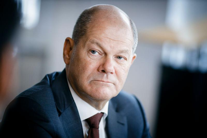 BERLIN, GERMANY - FEBRUARY 03: German Finance Minister Olaf Scholz gestures during an interview in his office on February 03, 2020 in Berlin, Germany. (Photo by Thomas Trutschel/Photothek via Getty Images)
