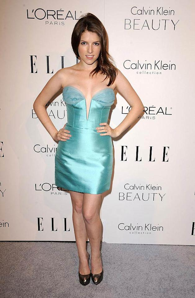 """Up in the Air"" star Anna Kendrick made quite a statement in her plunging aqua Reem Acra mini. Do you think her frock is hot ... or not? Steve Granitz/<a href=""http://www.wireimage.com"" target=""new"">WireImage.com</a> - October 18, 2010"