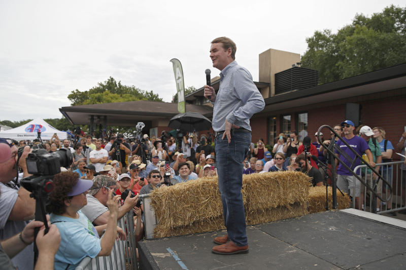 Democratic presidential candidate Sen. Michael Bennet, D-Colo., speaks at the Iowa State Fair, Sunday, Aug. 11, 2019, in Des Moines, Iowa. (AP Photo/John Locher)