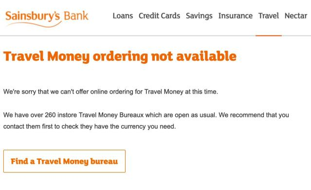 Sainsbury's Bank and other UK banks were affected by Travelex's problems. Photo: Sainsbury's Bank website/screenshot