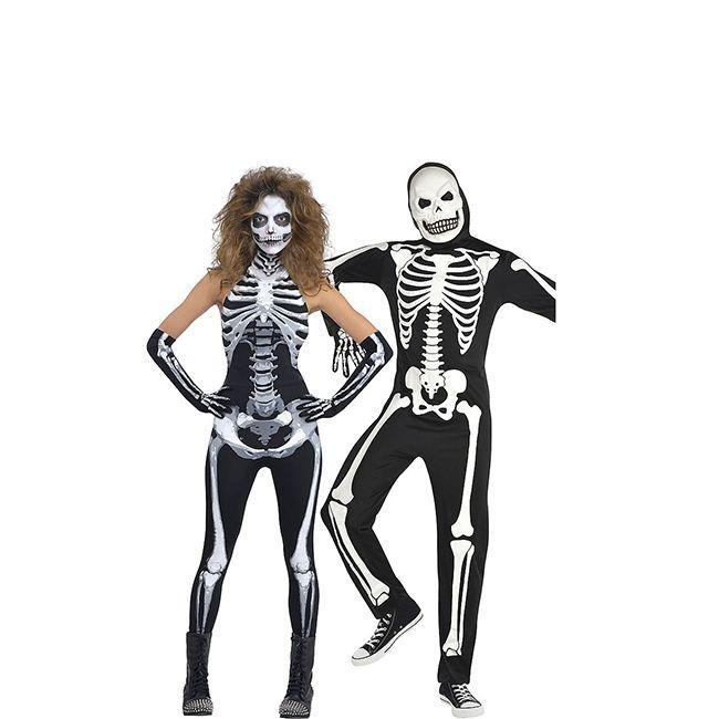 """<p>Skeletons are a spooky staple of Halloween, so you can't beat this iconic costume. Test out your <a href=""""https://www.womansday.com/style/g28625420/best-halloween-makeup-ideas/"""" rel=""""nofollow noopener"""" target=""""_blank"""" data-ylk=""""slk:Halloween makeup skills"""" class=""""link rapid-noclick-resp"""">Halloween makeup skills</a> with a look that ups the creepy factor.</p><p><a class=""""link rapid-noclick-resp"""" href=""""https://www.amazon.com/NuoReel-Womens-Skeleton-Halloween-Costume/dp/B0159S20NC?tag=syn-yahoo-20&ascsubtag=%5Bartid%7C10070.g.28669645%5Bsrc%7Cyahoo-us"""" rel=""""nofollow noopener"""" target=""""_blank"""" data-ylk=""""slk:Shop Women's Costume"""">Shop Women's Costume</a></p><p><a class=""""link rapid-noclick-resp"""" href=""""https://www.amazon.com/Forum-Novelties-Skeleton-Multicolor-Standard/dp/B0091K5YWY?tag=syn-yahoo-20&ascsubtag=%5Bartid%7C10070.g.28669645%5Bsrc%7Cyahoo-us"""" rel=""""nofollow noopener"""" target=""""_blank"""" data-ylk=""""slk:Shop Men's Costume"""">Shop Men's Costume</a> </p>"""