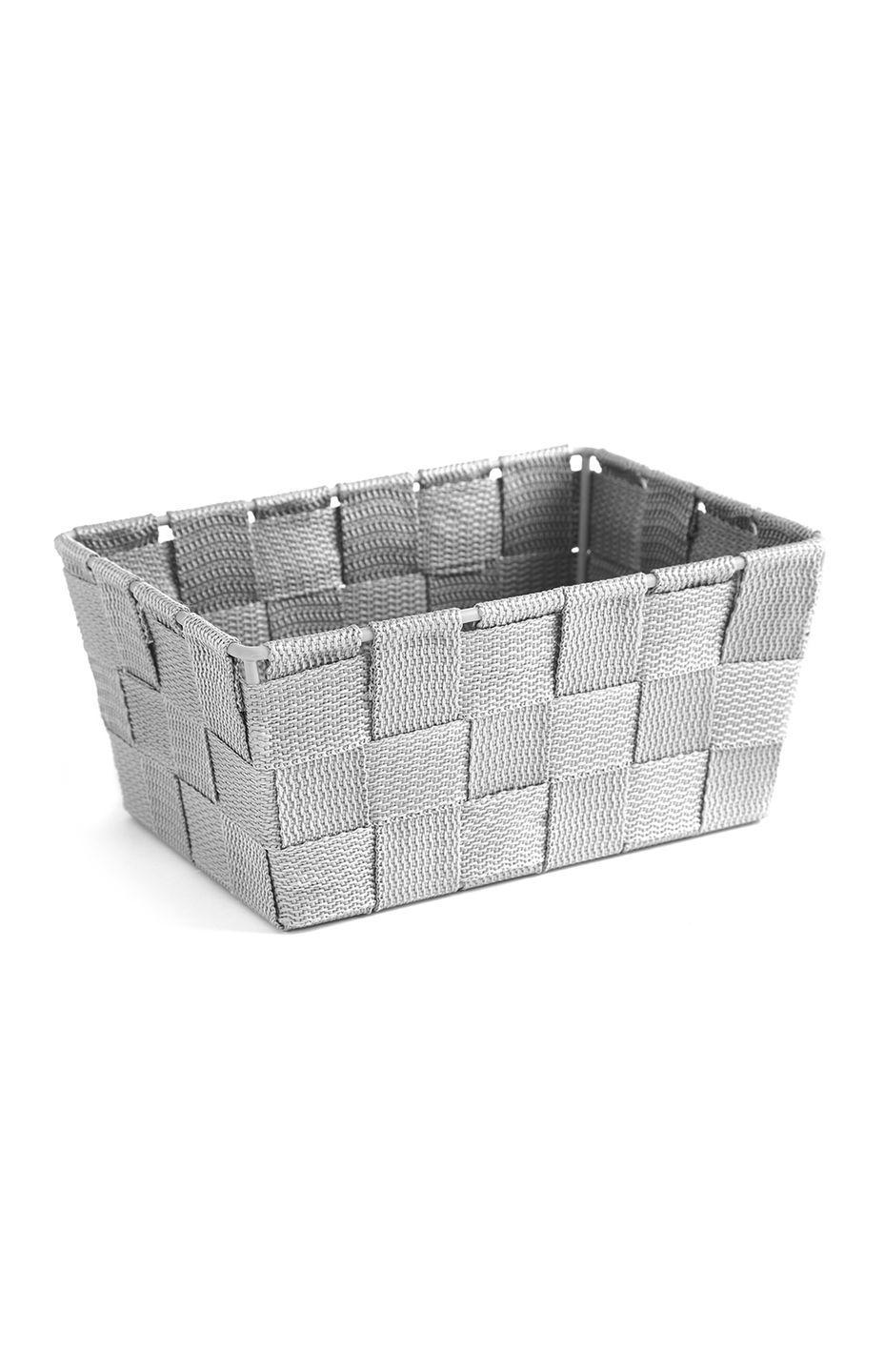 <p>Woven basket in grey, price unknown </p>