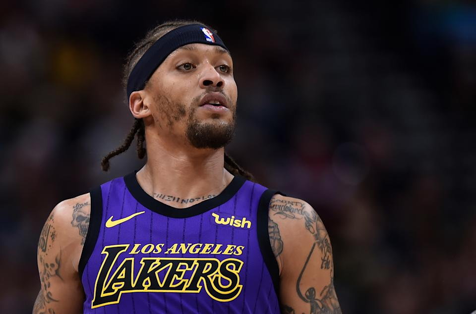 SALT LAKE CITY, UT - JANUARY 11: Michael Beasley #11 of the Los Angeles Lakers looks on in a NBA game against the Utah Jazz at Vivint Smart Home Arena on January 11, 2019 in Salt Lake City, Utah. NOTE TO USER: User expressly acknowledges and agrees that, by downloading and or using this photograph, User is consenting to the terms and conditions of the Getty Images License Agreement. (Photo by Gene Sweeney Jr./Getty Images)