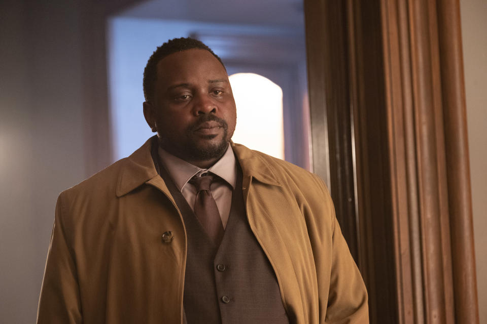 """This image released by Netflix shows Brian Tyree Henry in a scene from """"The Woman in the Window."""" (Melinda Sue Gordon/Netflix via AP)"""