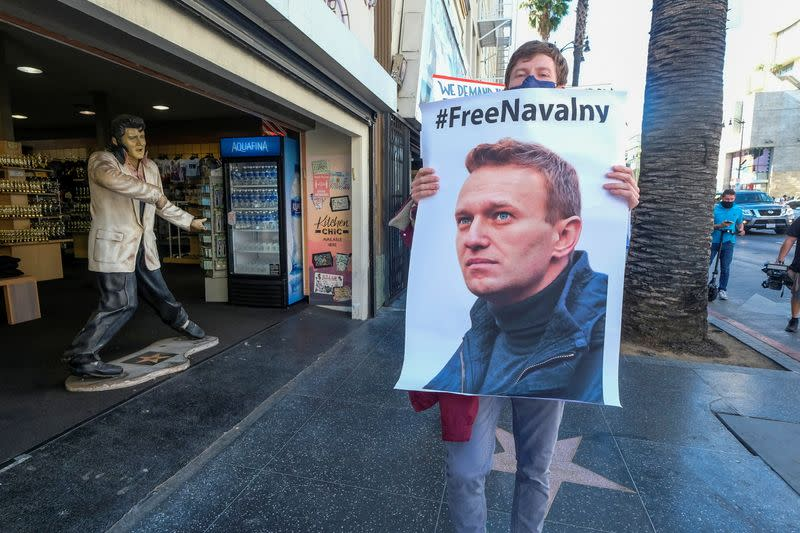Protesters march in Hollywood during a demonstration in support of Russian opposition leader Alexei Navalny