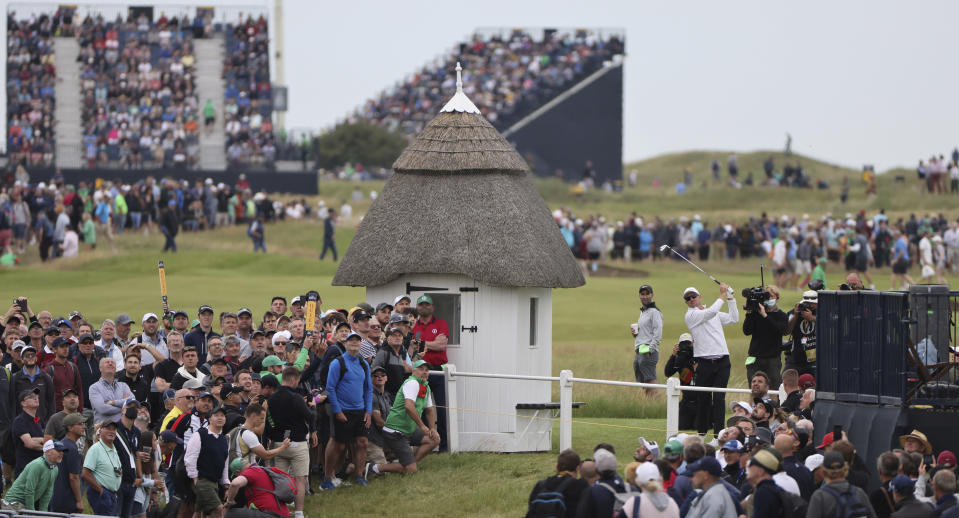 England's Justin Rose plays his shot to the 18th green from the 1st hole during the first round British Open Golf Championship at Royal St George's golf course Sandwich, England, Thursday, July 15, 2021. (AP Photo/Ian Walton)