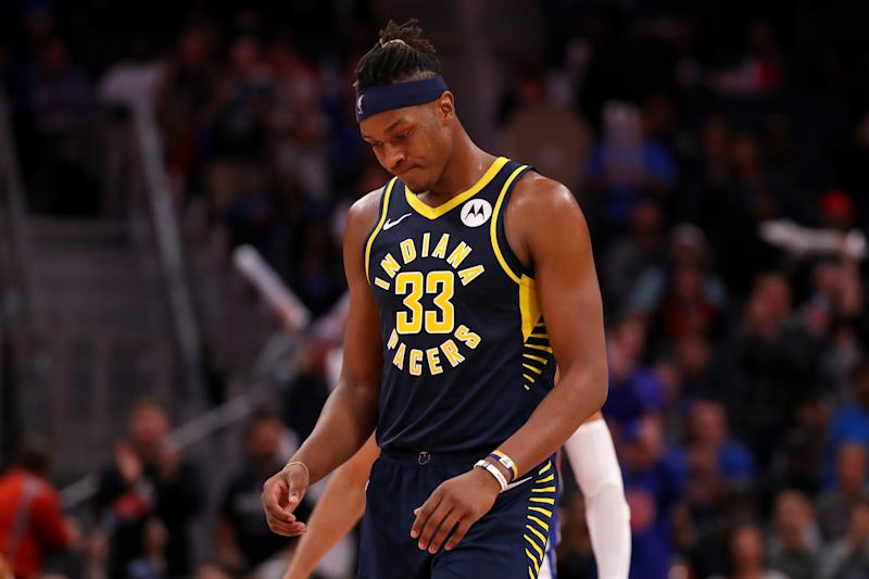 Pacers big man Myles Turner suffered a right ankle sprain against the Nets on Wednesday. (Getty Images)