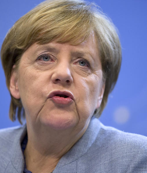 German Chancellor Angela Merkel speaks during a media conference at an EU summit in Brussels on Friday, Oct. 20, 2017. EU leaders told British Prime Minister Theresa May on Thursday to match her goodwill pledges to boost Brexit negotiations with concrete proposals if she really wants to start discussing a future trade deal with the EU by December. (AP Photo/Virginia Mayo)