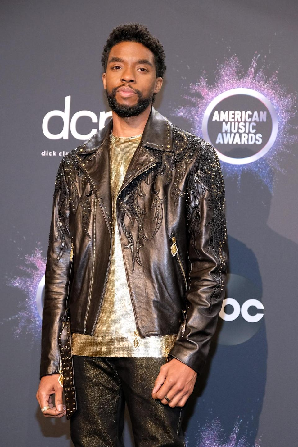 """<p>Chadwick Boseman, best known for his role as T'Challa/<a class=""""link rapid-noclick-resp"""" href=""""https://www.popsugar.com/latest/Black-Panther"""" rel=""""nofollow noopener"""" target=""""_blank"""" data-ylk=""""slk:Black Panther"""">Black Panther</a> in the Marvel Cinematic Universe, <a href=""""https://www.popsugar.com/celebrity/chadwick-boseman-dead-47738424"""" class=""""link rapid-noclick-resp"""" rel=""""nofollow noopener"""" target=""""_blank"""" data-ylk=""""slk:died at age 43"""">died at age 43</a> in August after a four-year battle with colon cancer.</p>"""
