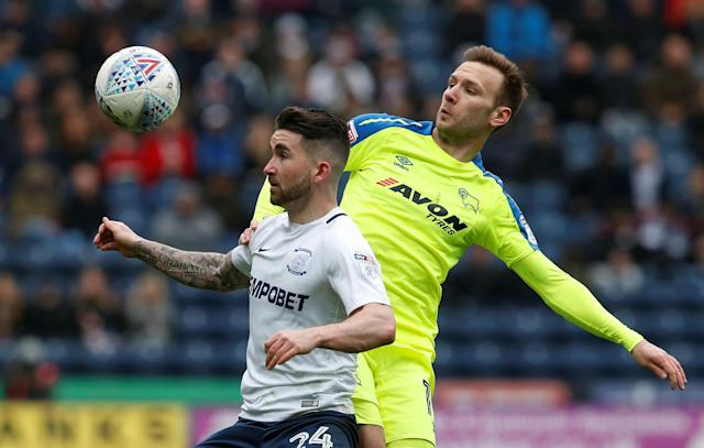 "Soccer Football - Championship - Preston North End vs Derby County - Deepdale, Preston, Britain - April 2, 2018 Preston North End's Sean Maguire in action with Derby County's Andreas Weimann Action Images/Craig Brough EDITORIAL USE ONLY. No use with unauthorized audio, video, data, fixture lists, club/league logos or ""live"" services. Online in-match use limited to 75 images, no video emulation. No use in betting, games or single club/league/player publications. Please contact your account representative for further details."
