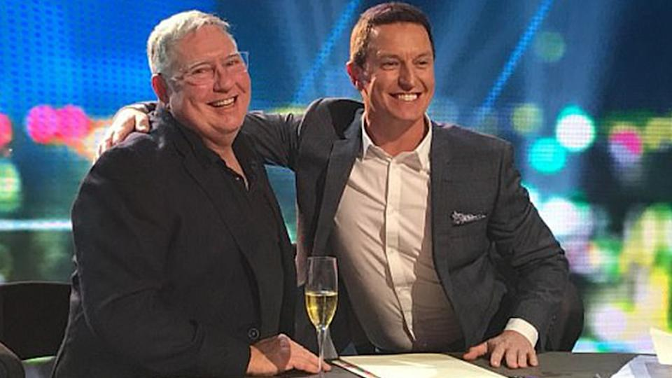 The Project Executive producer Craig Campbell with Rove McManus on set