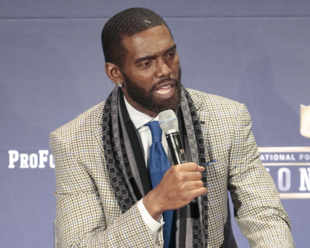 "Randy Moss speaks at ""NFL Honors"" after being elected to the Pro Football Hall of Fame. (AP)"