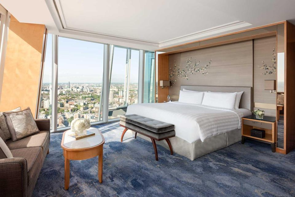 Guest room with city views at the Shangri-La at the Shard, voted one of the best hotels in the world