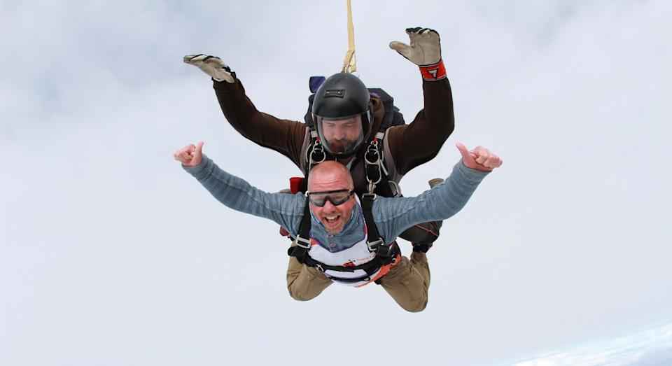 Dave Pagett jumped from 13,000ft when his parachute didn't open (SWNS)