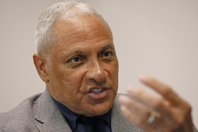 Mississippi Democrat Mike Espy explains, Tuesday, Nov. 12, 2019, at his Jackson, Miss., office, how he is using data to help him pursue votes in a run for the U.S. Senate against Republican incumbent Cindy Hyde-Smith, setting up a 2020 rematch of their 2018 special election to fill the last two years of retired Republican Sen. Thad Cochran's six-year term. Espy announced Tuesday that he's running again for U.S. Senate in Mississippi. (AP Photo/Rogelio V. Solis)