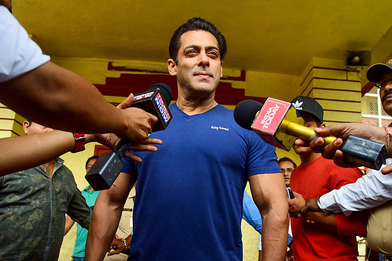 Bollywood actor Salman Khan leaves after casting his vote at a polling station during the state assembly election in Mumbai on October 21, 2019. (Photo by Sujit Jaiswal / AFP) (Photo by SUJIT JAISWAL/AFP via Getty Images)