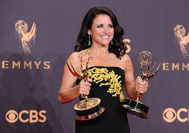 Julie Louis-Dreyfus at the Emmy Awards on Sept. 17 — the day before her breast cancer was diagnosed. (Photo: Getty Images)