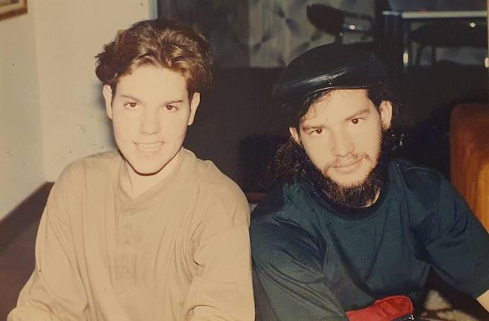 The author Daniel Shoer Roth, with his friend Joseph Kohan, in Caracas, Venezuela, in the early 1990s.