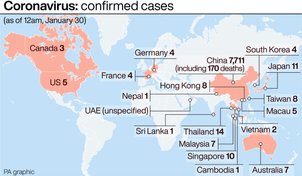 Current confirmed cases of coronavirus (PA)