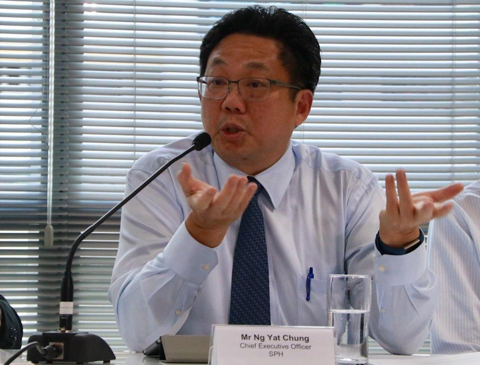 Singapore Press Holdings CEO Ng Yat Chung address reporters at a media conference on 11 October. (PHOTO: Dhany Osman / Yahoo News Singapore)