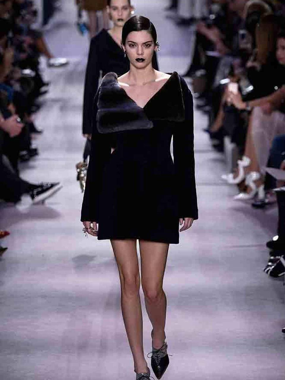 <p>Kendall Jenner walks the Dior runway during Paris Fashion Week, March 2016.</p>
